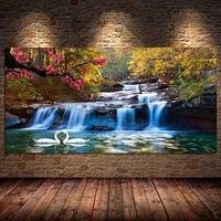 Dekoration Wasserfall Woods Schwan Leinwand Malerei Poster und Drucke Wand Kunst für Wohnzimmer Büro Kunstwerk Cuadros Unframed