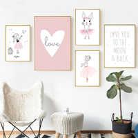 Kids Room Poster Pink Rabbit Children Poster Baby Girl Room Decor Wall Art Canvas Painting Nursery Prints Ballet Bedroom Picture