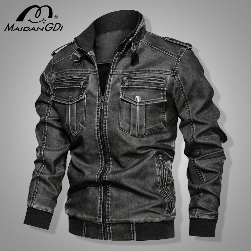 Men's Jackets 2020 Winter New Motorcycle PU Leather Jackets Military Pilot Bomber Tactical Jacket Male Autumn Vintage Coats
