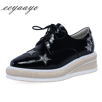 2020 New Genuine Leather Women Pumps Middle Wedge Heel Lace-Up Fashion Casual Women Platform Shoes Black Cow Leather Pumps