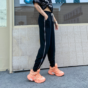[EAM] High Elastic Waist Black Zipper Split Harem Trousers New Loose Fit Pants Women Fashion Tide Spring Summer 2020 1U550