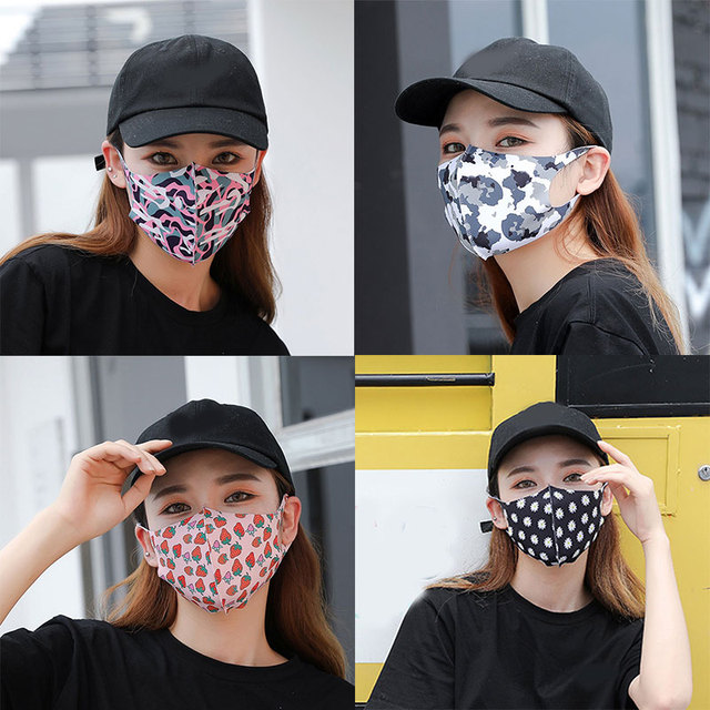 women Mouth Mask Breathable Cotton Fashion Black Reusable Face Pink Shield Wind Proof Flower Mouth Cover 2