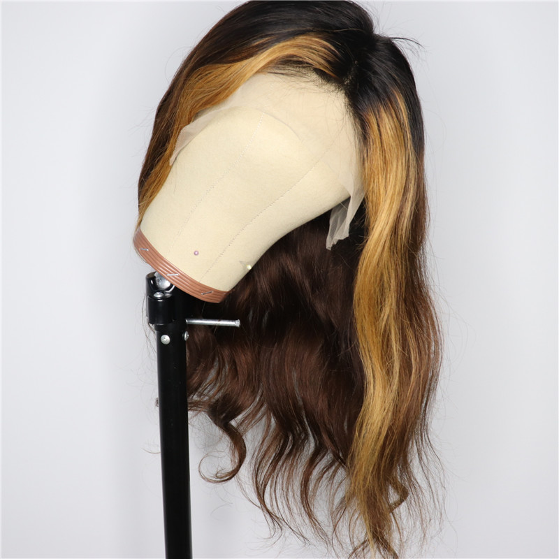 Highlight  Wig Lace Front  Wig Pixie Cut 130% Mix Color Human Hair Wig