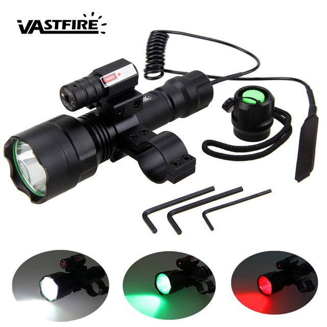 Светодиодный тактический охотничий фонарь, красный, зеленый, белый, винтовочный пистолет + лазерный точечный прицел + пульт дистанционного управления + крепление на рельс 20 мм