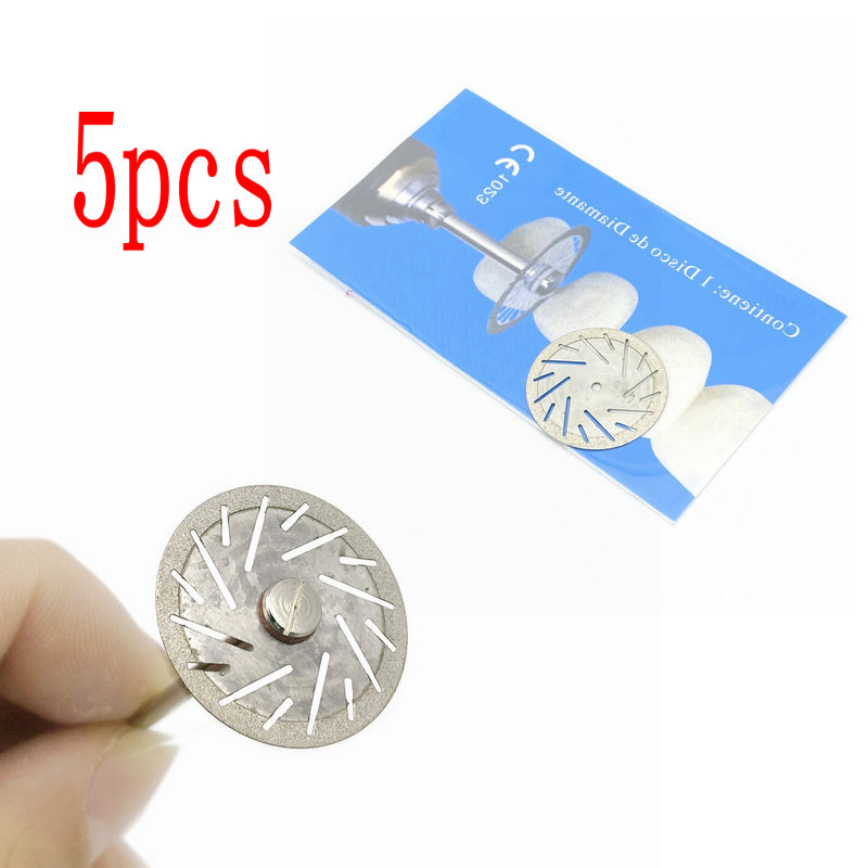 5pcs Dental Diamond Disc Disks Double Sided Grit Cutting Disc Tool Thickness 0.25mm Dental Lab