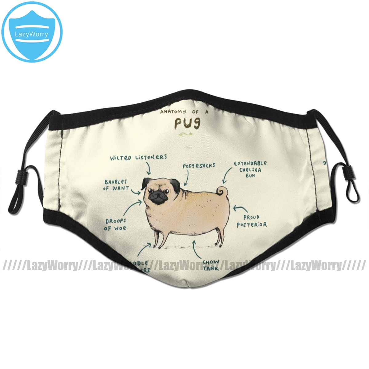 Pug Dog Mouth Face Mask Anatomy Of A Pug Facial Mask Fashion Cool With 2 Filters For Adult