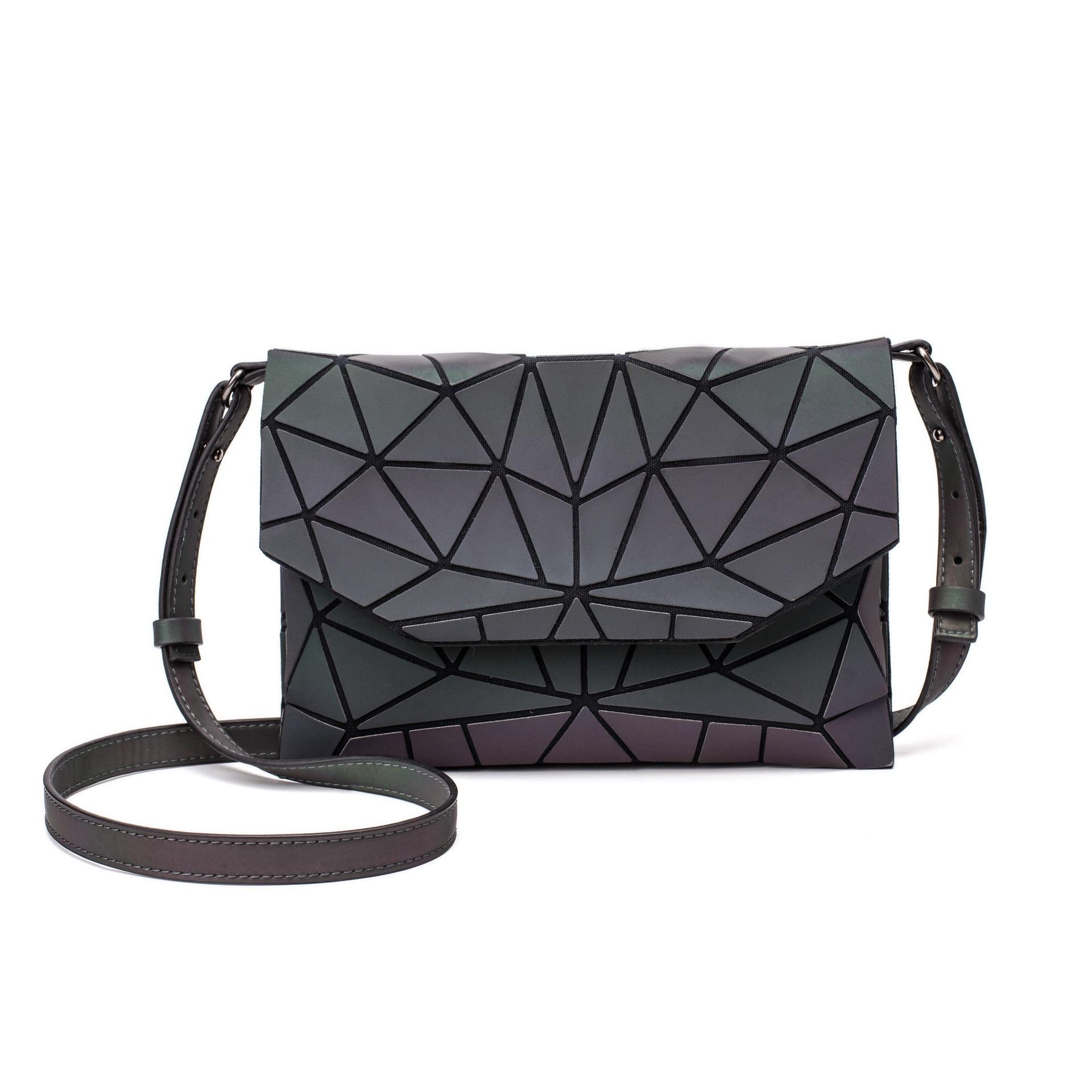 Black Luminescent Geometric Crossbody Ladies Shoulder Bag Envelope Purse 6