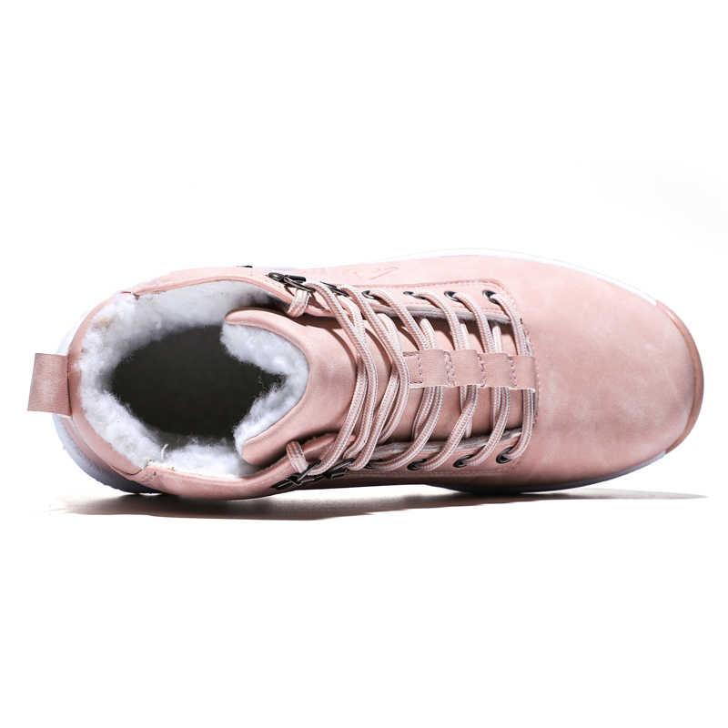 2019 kış açık peluş sıcak kar botları kadınlar için PU deri su geçirmez kar ayakkabıları pembe moda yarım çizmeler kadın büyük boy 42