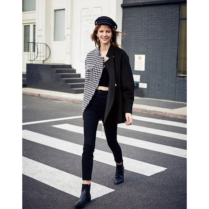 AEL Asymmetry Blazer Casual Woollen Jacket Coat Autumn Winter Fashion Swallow Gird Based Ladies Fashion Wear 2019 New