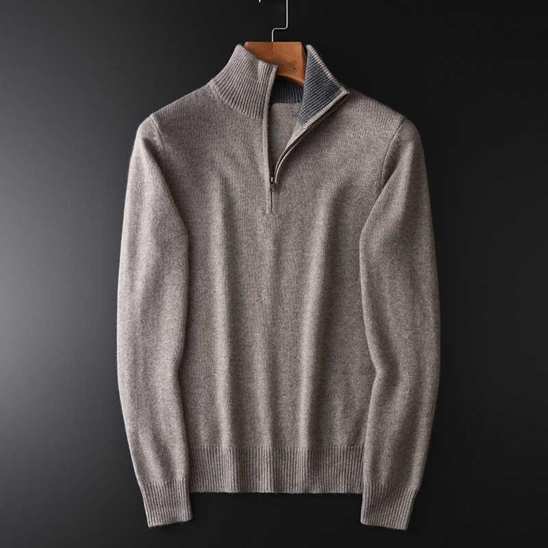 캐시미어 터틀넥 망 럭셔리 솔리드 컬러 지퍼 칼라 스웨터 남자 플러스 사이즈 4xl 슬림 피트 두꺼운 스웨터 남성