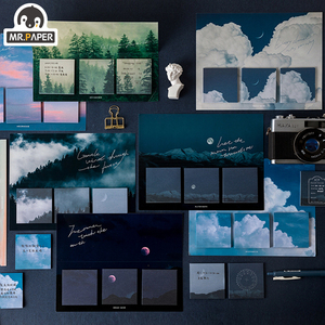 Mr.Paper 16 Designs 60pcs Fantasy Sky Cloud Moonlight Memo Pad Deco Sticky Notes Notepad Diary Creative Self-Stick Note Memo Pad