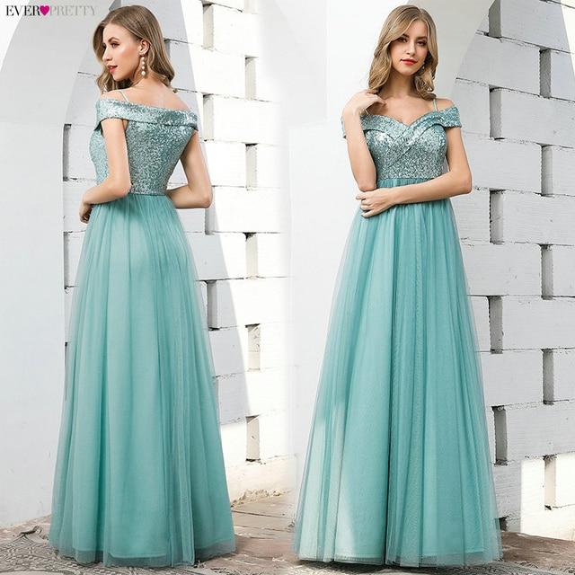 Elegant Blue Evening Dresses Ever Pretty EP00774DB A-Line V-Neck Sequined Sleeveless Tulle Party Gowns Vestido Largo Elegante 3