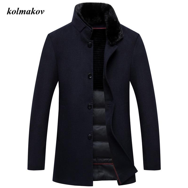 New Arrival Winter Style Men Boutique Woolen Coat High Quality Solid Detachable Fur Collar And Liner Men's Woolen Down Coat