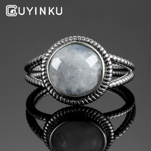 GUYINKU 925 Sterling Silver Jewelry Rings With 10MM Round Natural Gemstone Anniversary Gifts For Women S925 Party Fine Jewelry bolaijewelry 100% natural labradorite gemstone bracelet 925 sterling silver fine jewelry for women mom anniversary party gift