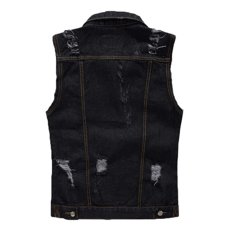 2020 Nieuwe Mannen Zwarte Denim Vest Klassieke Stijl Fashion Casual Katoen Gat Mouwloze Jas Cowboy Jas Mannelijke Merk