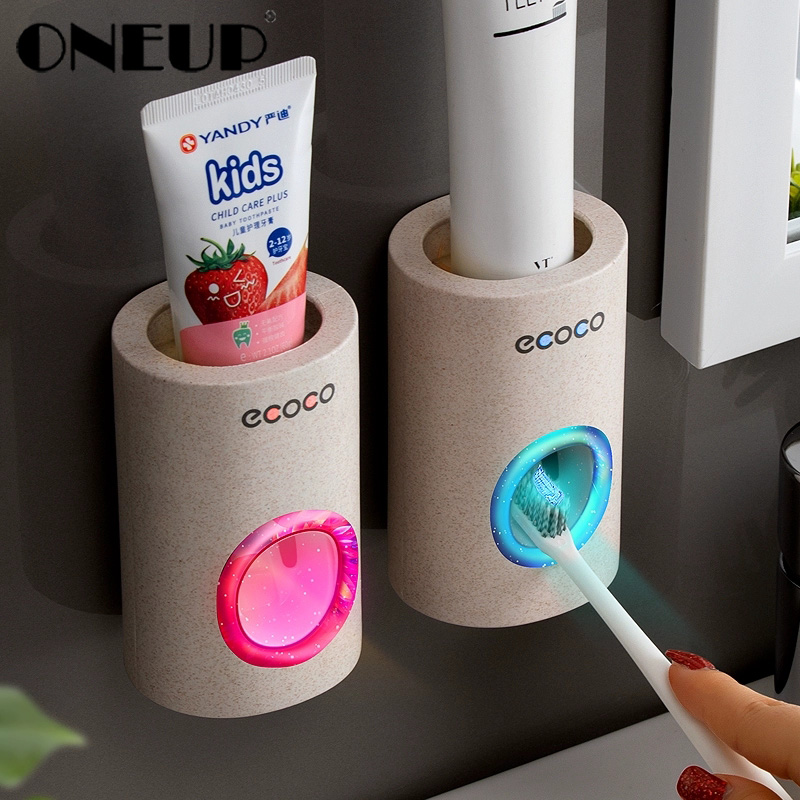 ONEUP ยาสีฟันอัตโนมัติฝุ่นแปรงสีฟันผู้ถือ Wall Mount Stand ยาสีฟัน Squeezer ชุดอุปกรณ์ห้องน้ำ