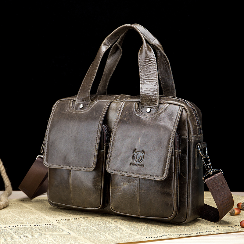 Genuine Leather Men Laptop Bag Business Working Classic Briefcase Multi-function Big Capacity Retro Ipad Office Handbags XA524ZC
