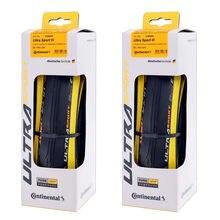 1 par continental ultra sport iii 700x25 preto amarelo dobrável puregrip 3 bicicleta de estrada pneu dobrável