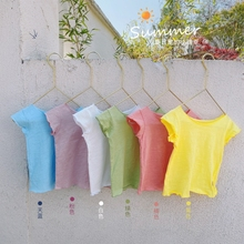 Summer Baby GirlsT-shirt Tops Clothes Solid Color Short Sleeves Round Collar Cotton Casual Toddler Kids T-shirt Outfits New 2020