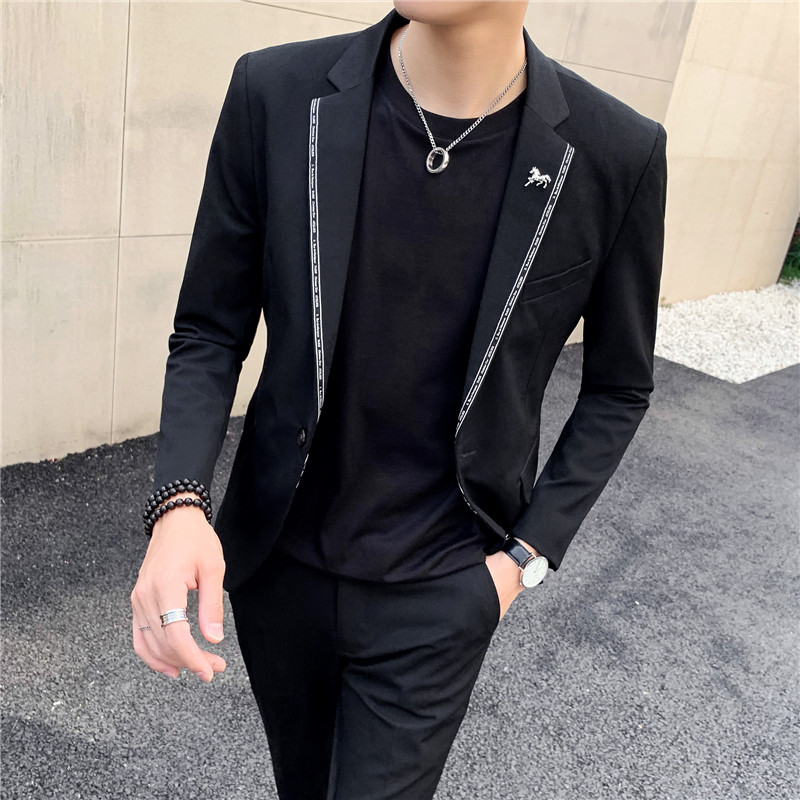 Korean Casual Blazer Suit Jacket Men High Quality Business Wedding Mens Coat Black Gray Blazer Masculino Singer Stage Clothes