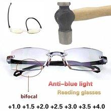 2020 masculino feminino sem aro óculos de leitura anti luz azul bifocal longe perto ampliação óculos presbiopia + 150 + 200
