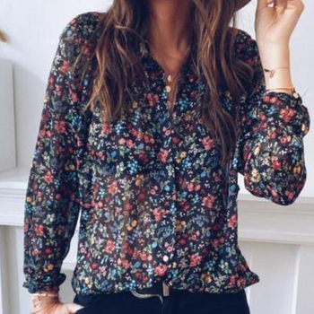 Floral Printed Women Vintage Shirt For Woman Spring Autumn Blouse Shirt Flower Print Tops V-Neck Casual Fashion Female Clothing vintage floral print v neck half sleeve blouse for women