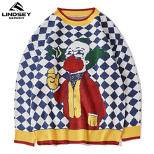 Knitted Sweater Men's Clothing Clown Jumper Oversize Cashmere-Wool SEADER Male Korean