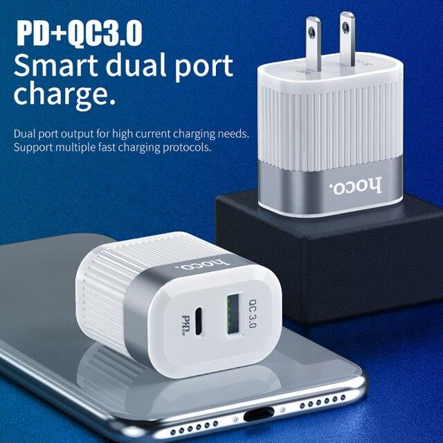 HOCO PD QC3.0 USB Schnelle Telefon Ladegerät 18W Quick Charge 3,0 EU UNS Stecker Wand USB Ladegerät Adapter Volle vereinbarung für iPhone Samsung
