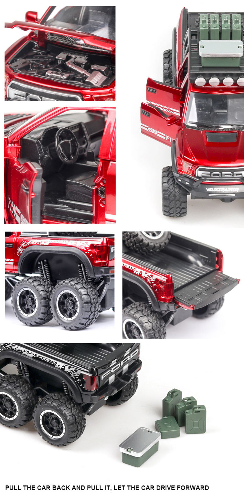 Ford F150 Raptor Pickup Truck Model Car with Sound and Lights 8