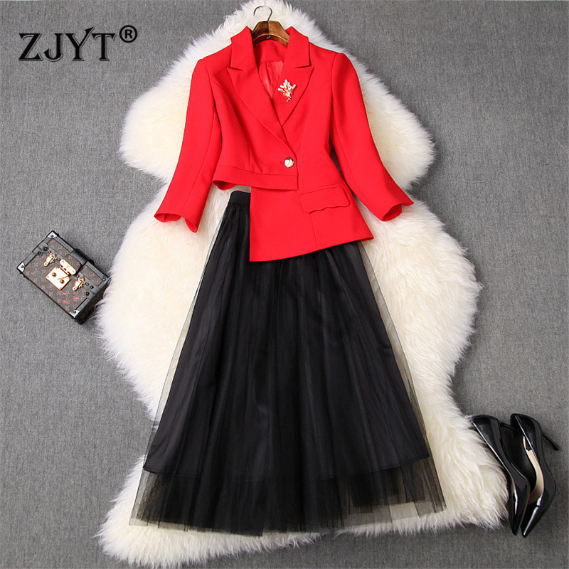 2020 New Spring Designers Office Lady Skirt 2Piece Set Women Fashion Irregular Blazer Suit Long Tulle Skirt Suit Twinset