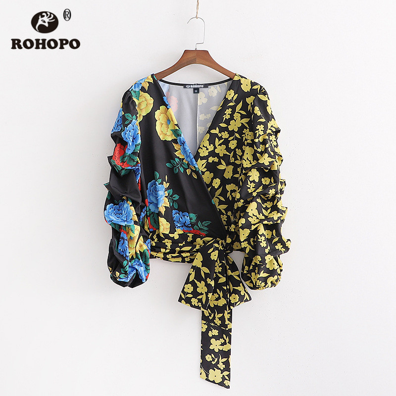 ROHOPO Patchwork Belted Floral Long Sleeve Autumn Wrap Blouse Draped Cotton Yellow Shirt #2385