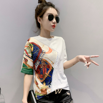 white color embroidery patchwork cotton tshirt