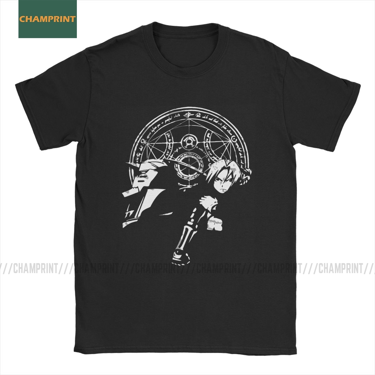 Ed And Al Elric Brothers FullMetal Alchemist T-Shirt Men Edward Brotherhood Anime Fma Manga Cotton Tee Short Sleeve T Shirt