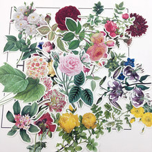 15pcs Hand Drawing Watercolor Retro big flower Sticker Decorative Stickers for Notebook Planner Scrapbooking DIY Paper Stiker