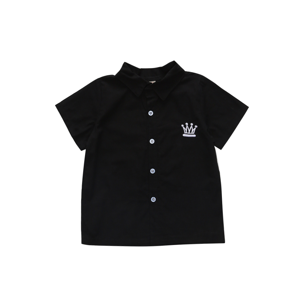 1-6T Boys Shirts Back to School Button-down Shirt for Turn Down Collar Baby Black Kids Crown Embroidery  Top
