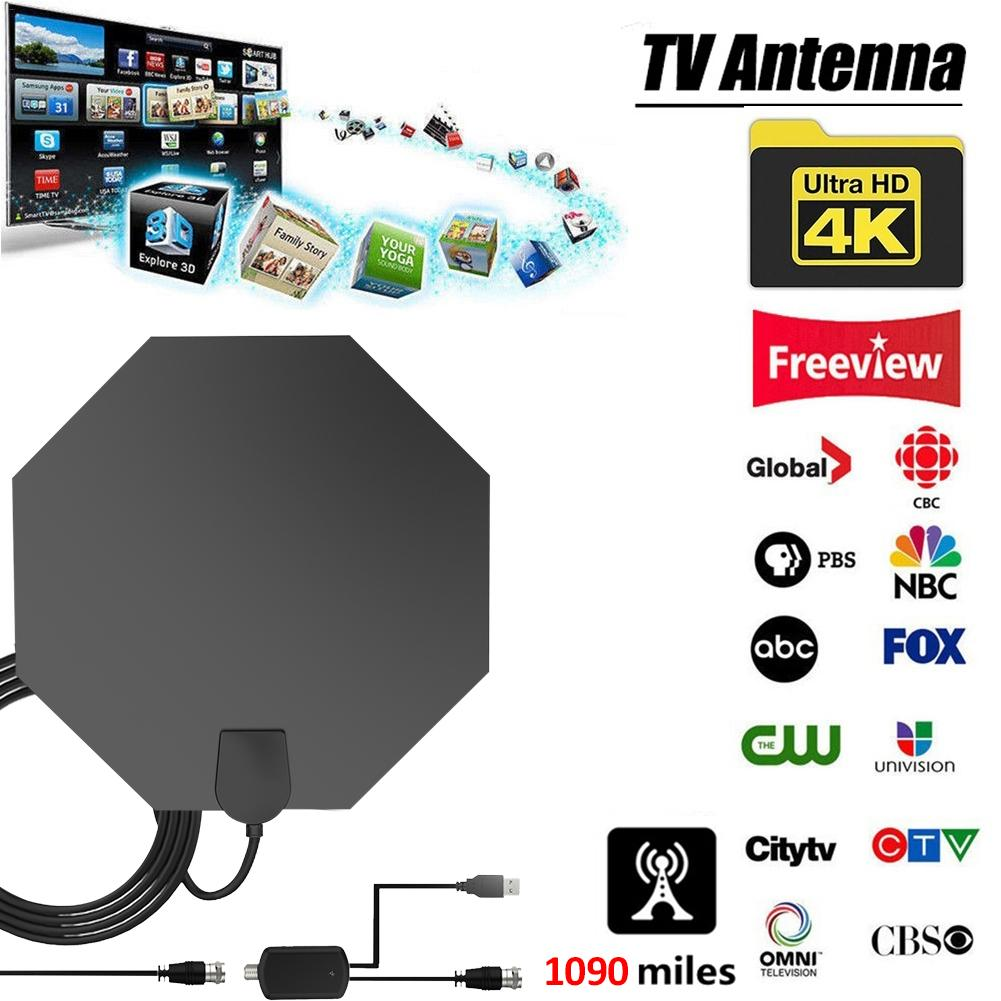 4K Digital HDTV Antenna Aerial Indoor Amplified TV For Life Local Channels Broadcast