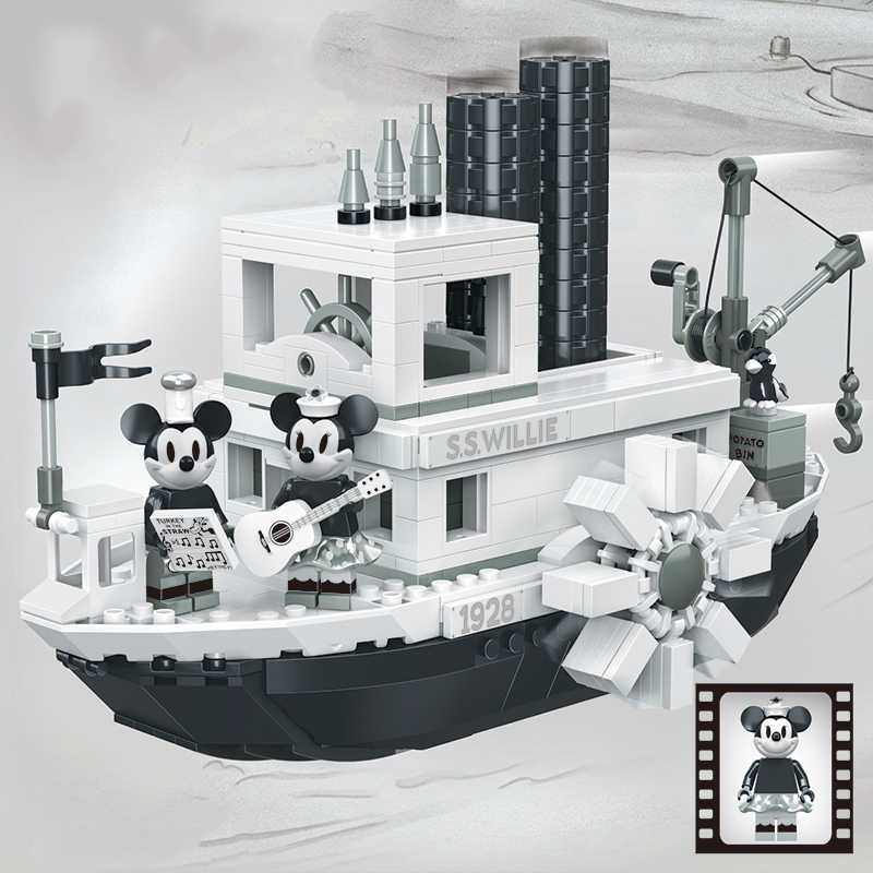 New Ideas compatible with legoings Steamboat Willie Movie Fit 21317 Figures Building Blocks Bricks Toys for Children Gifts