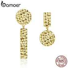 BAMOER gorąca sprzedaż 925 Sterling Silver indywidualne geometryczne okrągły wkręt kolczyki dla kobiet geometryczne biżuteria srebrna prezent SCE533