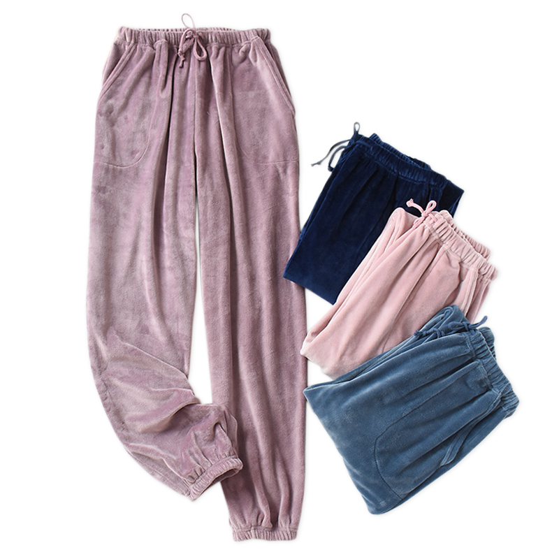 New winter Quality Couples sleep bottoms women thicken pure color Simple flannel keep warm home pants pyjamas sleep trousers