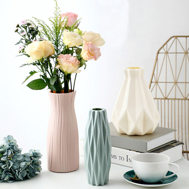 Vase European Home Decoration Anti-ceramic Vase Accessories Plastic Modern Unbreakable Creative Wedding Decoration Flowers 5
