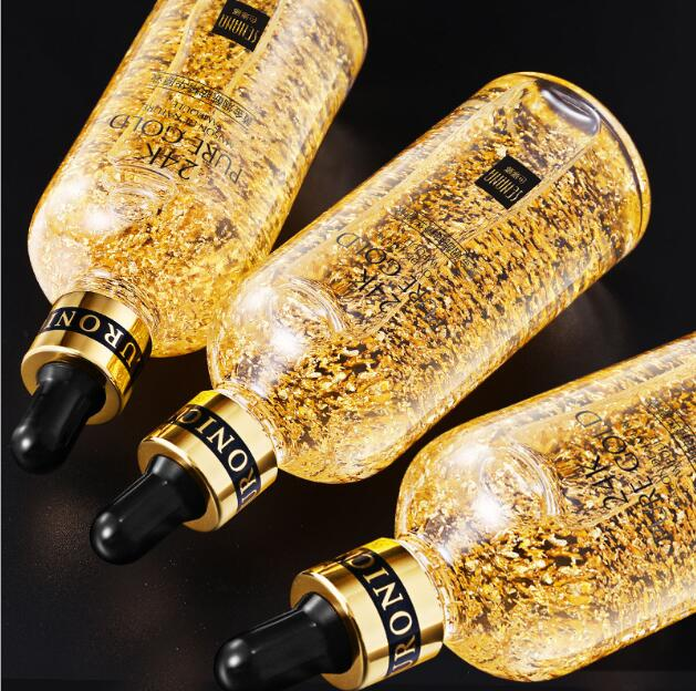 24K Gold Tense Moisture Liquid Skin Care Essence Pure Hyaluronic Acid Serum Anti-wrinkle Gold Nicotinamide Essence image