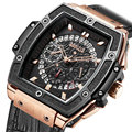 Baogela Luxus Chronograph Uhren Männer Leder Band Wasserdichte Quarzuhr Mann Top Marke Armbanduhr Relogios Masculio 1703 Rose