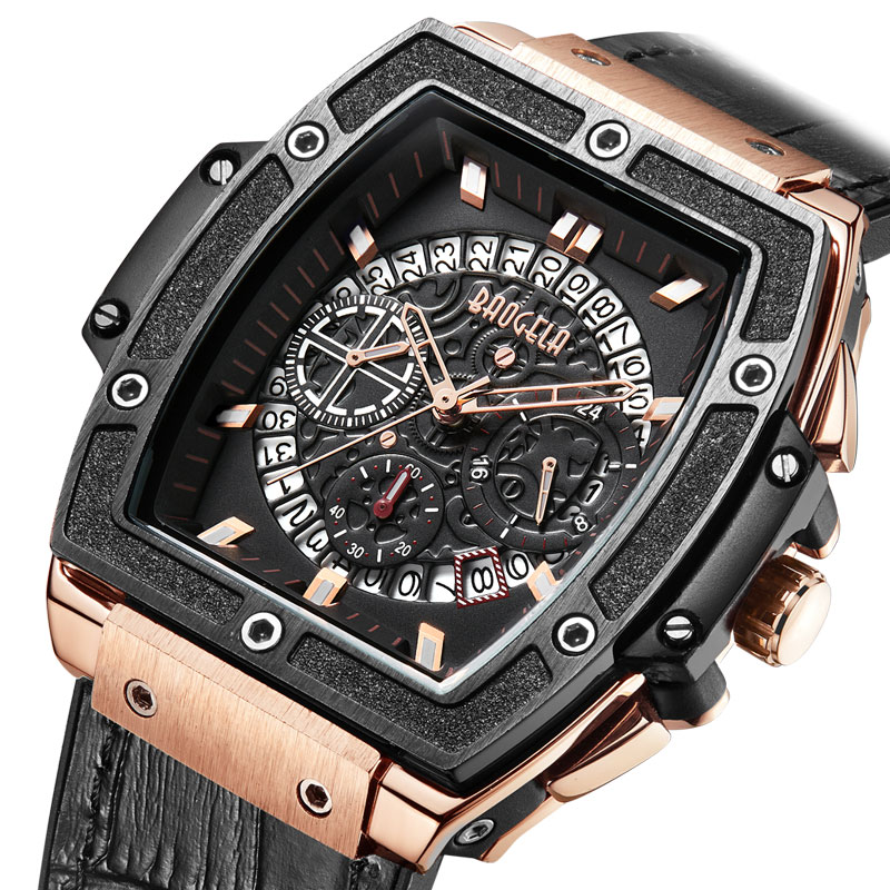 Cronógrafos de Luxo Pulseira de Couro à Prova Relógio de Quartzo Relógio de Pulso Baogela Relógios Homens Água Man Top Marca Masculio 1703 Subiu d'