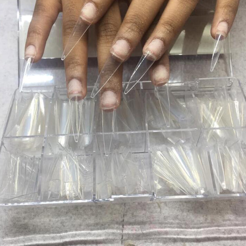 500pc/Box Pointy Stiletto Nail Tips Clear/Natural False Fake Manicure Acrylic Gel Diy Salon Suppliers Extra-Long Fingernail Claw