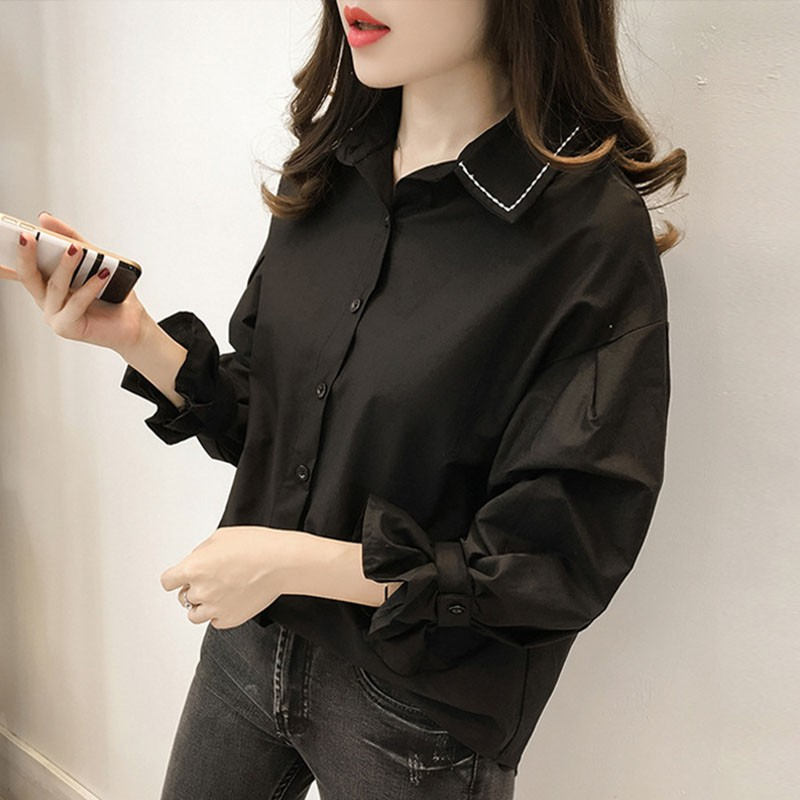 Women Slim Casual   Shirts   Loose   Blouses   Autumn Spring Puff Sleeve Turn-down Collar   Blouses