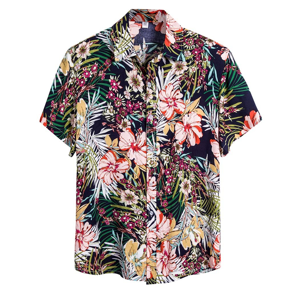 Mens Short Sleeve Hawaiian Floral T Shirt Chinese Retro Ethnic Style Cool Tops