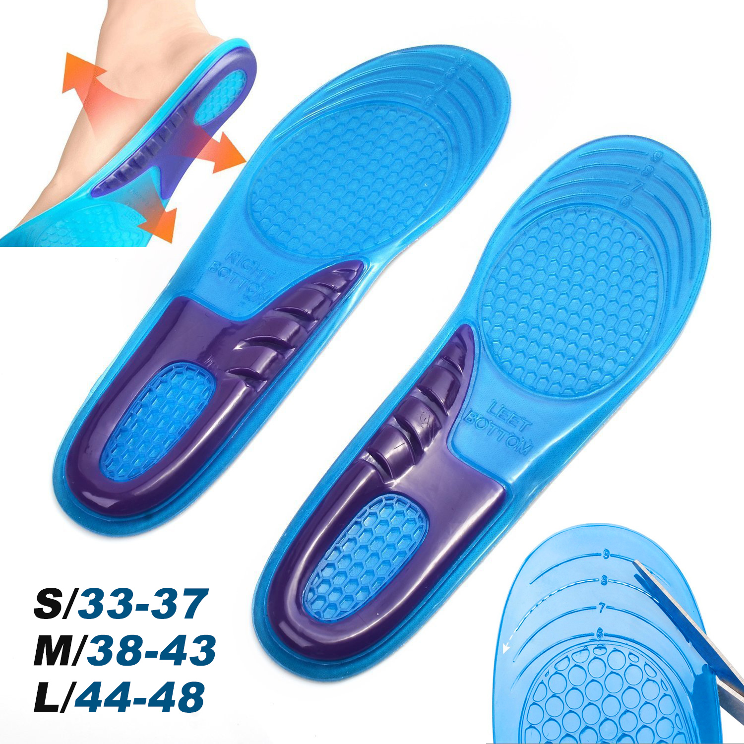 Silica Gel Orthotic Elastic Insoles Arch Support Shoe Pad Sport Running Gel Insoles Insert Cushion For Men Women Size 33-48