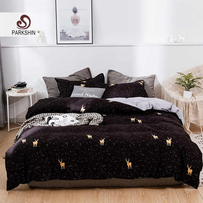 Parkshin Christmas Deer Home Textiles Bedclothes Nordic Bedspread Bed Sheet Double Adult Pillowcases Duvet Cover Bedding Set