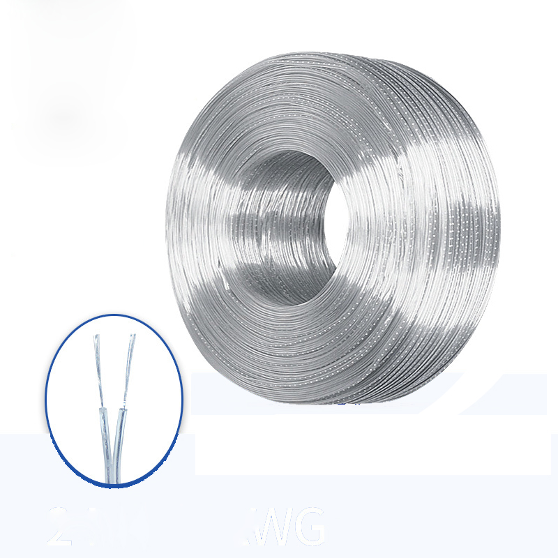10 Meters <font><b>28awg</b></font> 2 Core Copper Wire 2468 Transparent Parallel Line Flat Double Wire Transparent Electrical Wire Video <font><b>Cable</b></font> image