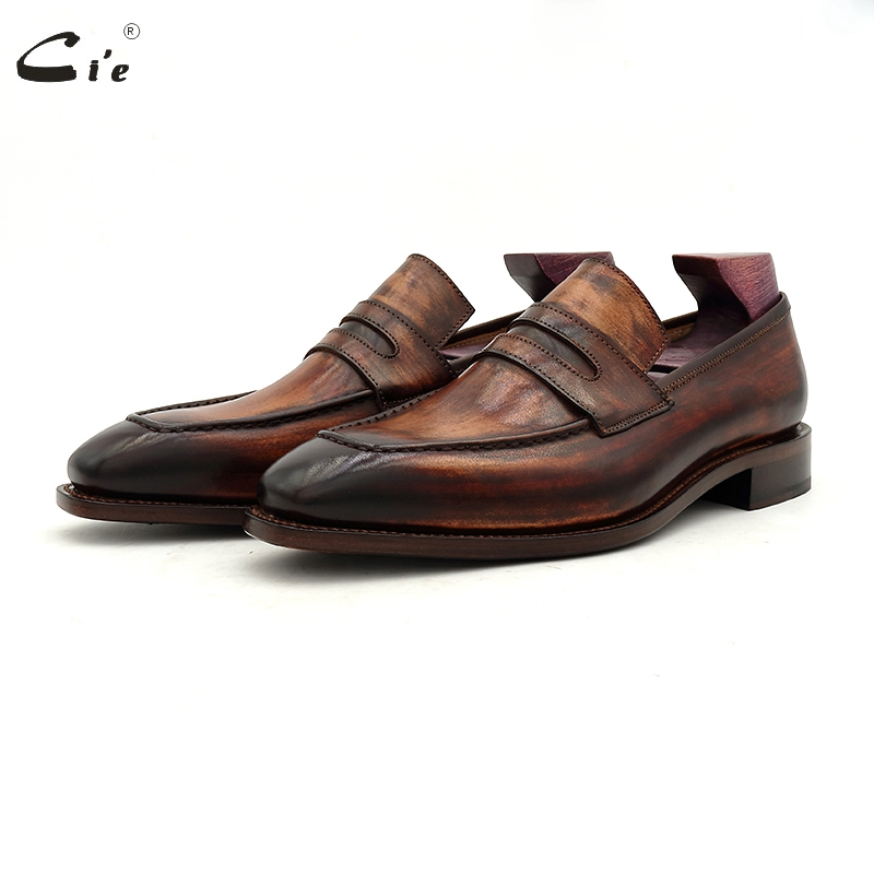 Cie Goodyear Welted Loafer Men Formal Shoes Leather Sole Shoes For Men Office Dress  Patina Brown Business Leather Loafer 213